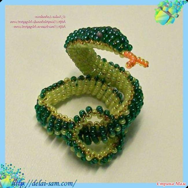 Все поделки из бисера змея