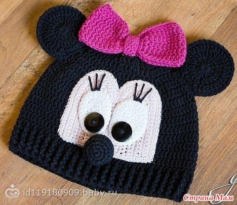 шапки крючком для девочек микки маус