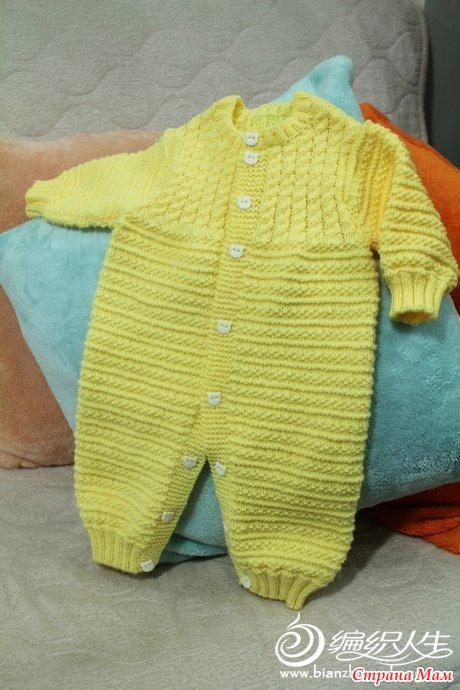 вязание комбинезона с капюшоном для новорожденного