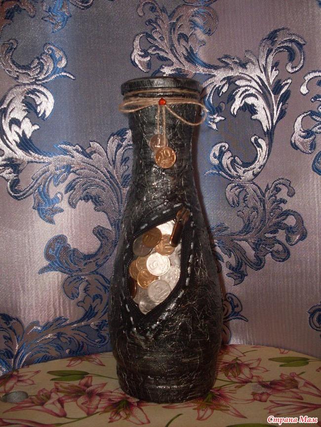 Декупаж бутылок кофейными зернами фото