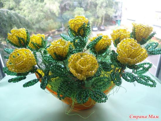 Цветы и деревья из бисера и паеток.