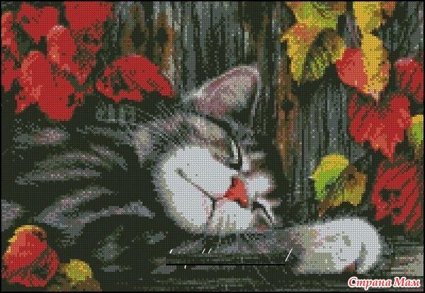 """Схема вышивки """"Спящий кот"""""""
