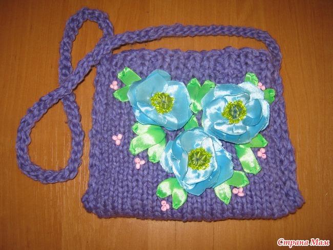 Вязаная спицами сумочка для девочки своими руками 50