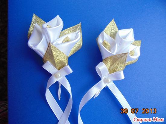 Цветы гостям на свадьбу своими руками из лент 58