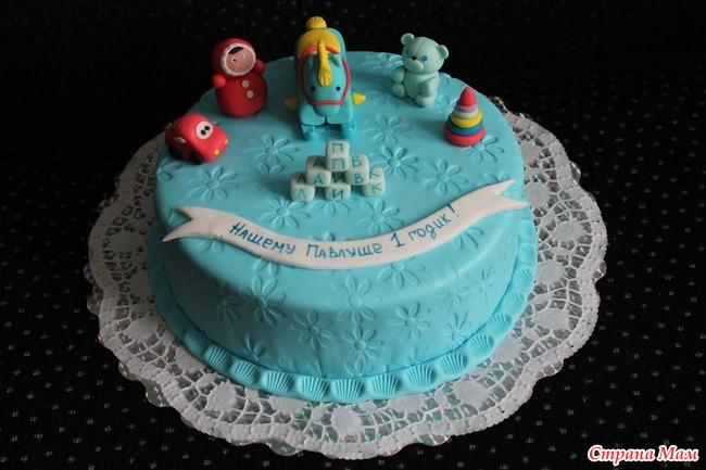 Торт на годик с мастикой своими руками