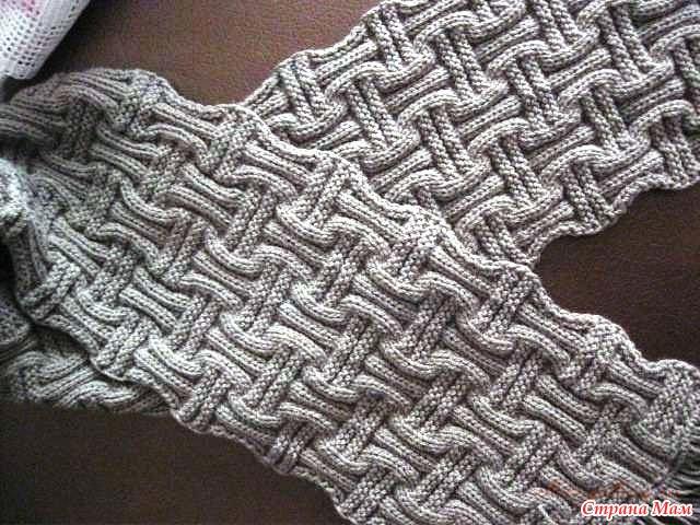 Связать шарф двухсторонним узором