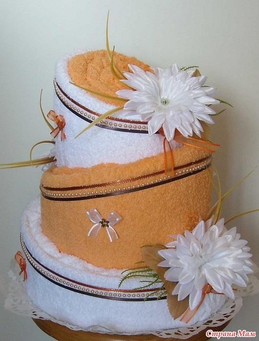 Торт из полотенец фото