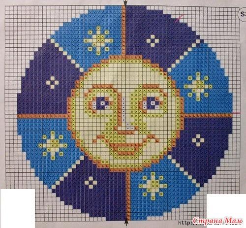 Солнце и Месяц - вышивка