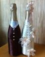 Как своими руками украсить свадебное шампанское 13