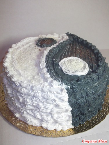 Украсить торт инь янь фото