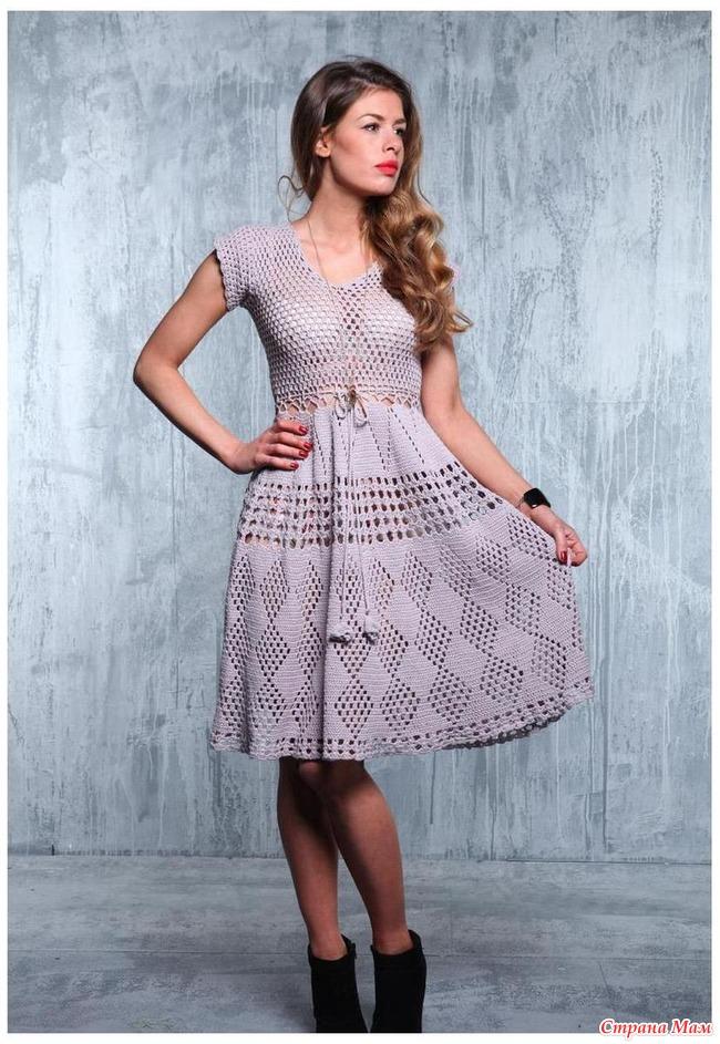 Летнее платье спицами для женщин со схемами