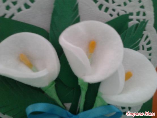 Поделки цветы каллы из ватных дисков