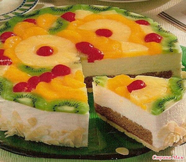 Рецепты бисквитных тортов с желе и фруктами