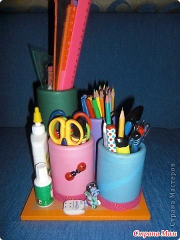 Подставки для карандашей из пластиковых бутылок своими руками 45