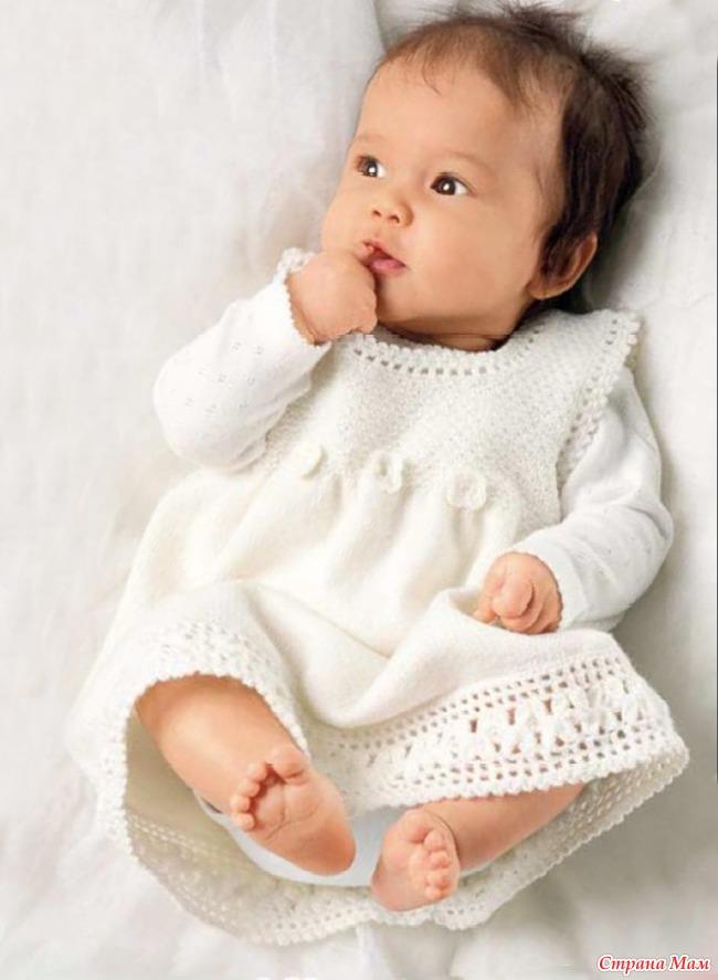 Платья вязаные для девочек новорожденных