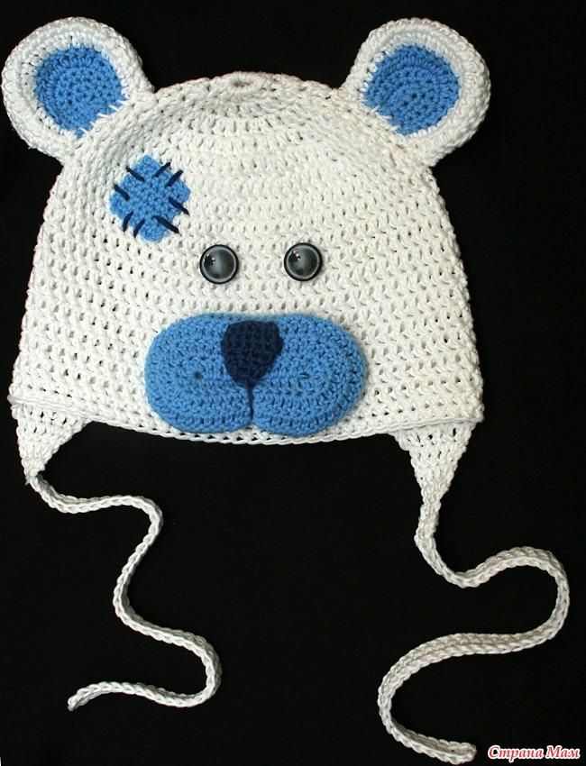 Как связать шапку для медвежонка