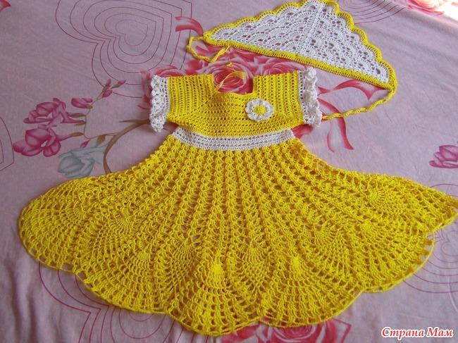 Вязание крючком для девочек 2-3 лет платья и юбки 242
