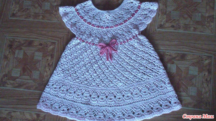Вязание крючком платье для малышки