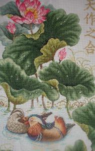 Схема для вышивки уток мандаринок