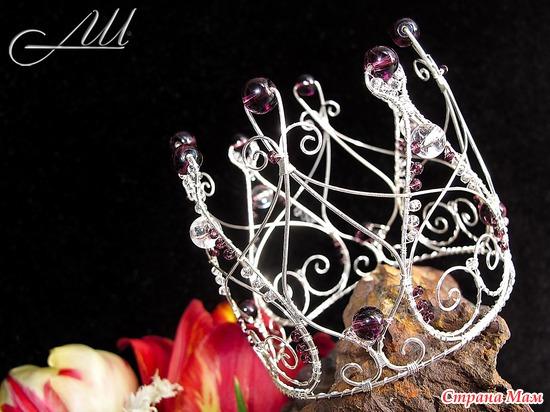 Сделать корону своими руками из проволоки и бусин своими руками 15