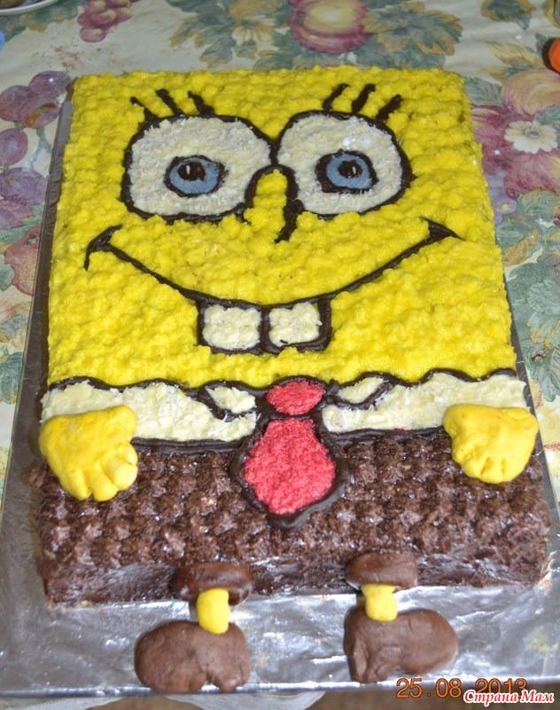 Торт губка боб своими руками фото