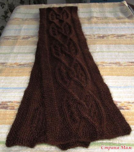Шоколадный шарф с аранами для