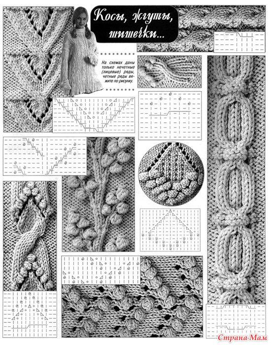 Вязание узоров с косами спицами схемы бесплатно