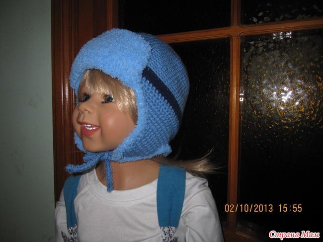Вязание шапки ушанки для девочек подростка 26