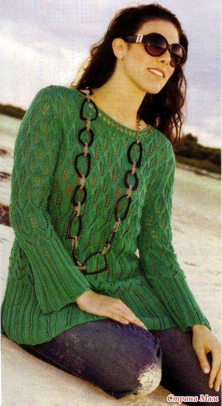 весенний пуловер спицами женский