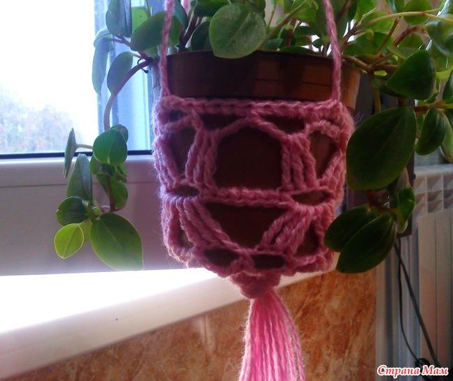 вязание кашпо крючком