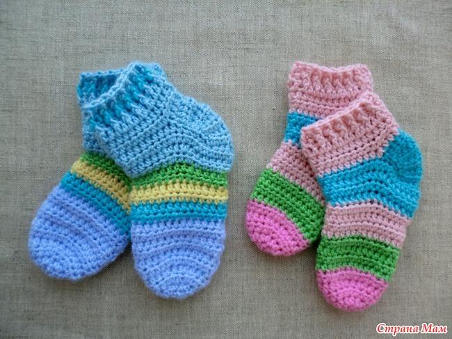 Вязание крючком детские носочки