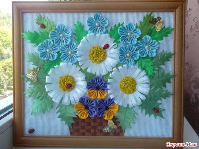 Картины в стиле канзаши мастер класс