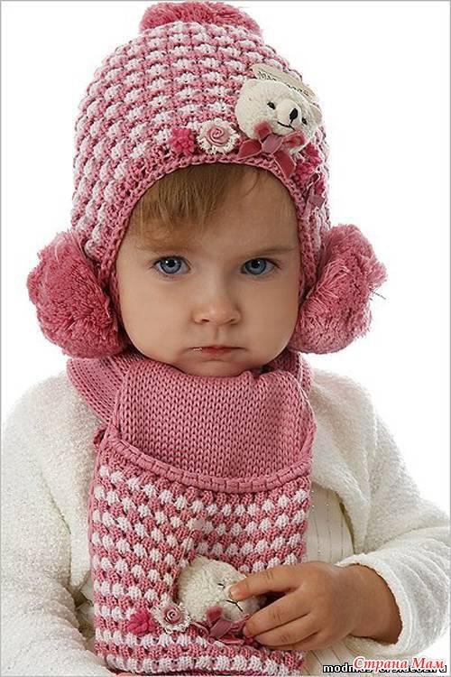 Вязание спицам шапки для девочки с ушками