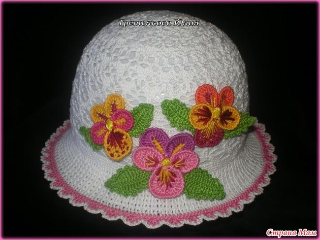Связать крючком цветочек для летней шапочки