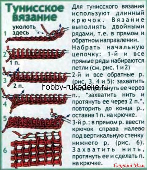 Виды вязания крючком тунисское вязание