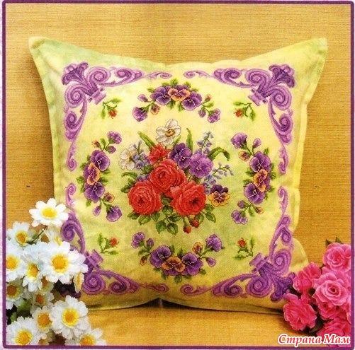 Вышивка декоративной подушки.