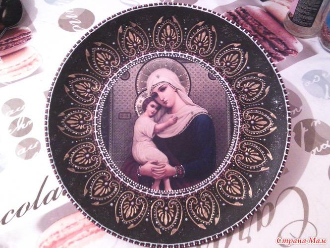 Прямой декупаж тарелок с кракелюром