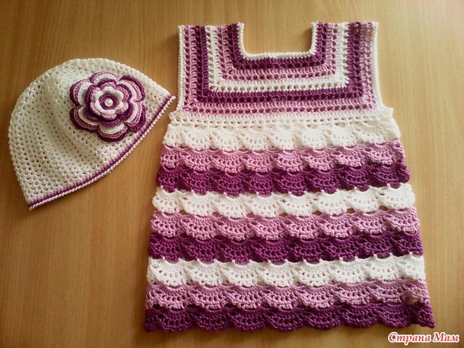 Вязание крючком платье для девочки 6 мес