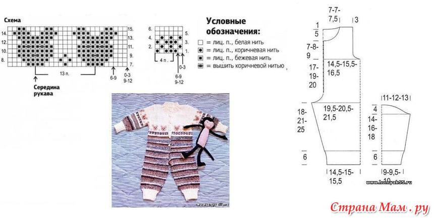 Вязание спицами детский костюмчик схема 591