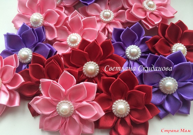 Цветы из лент свадебное украшение своими руками