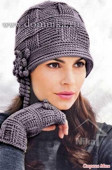 2) Женская стильная шапка