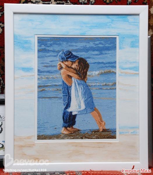 Вышивка мальчик на берегу
