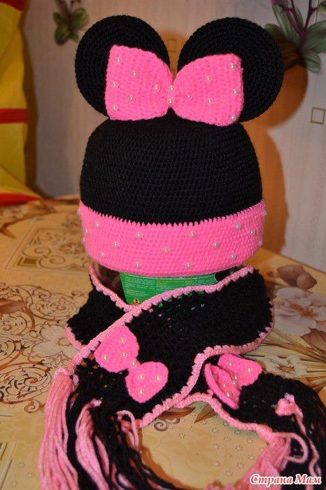 Вязание шапки микки-маус видео