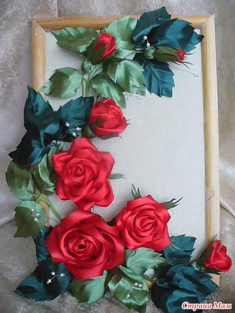 Картина цветы из атласных лент своими руками 38
