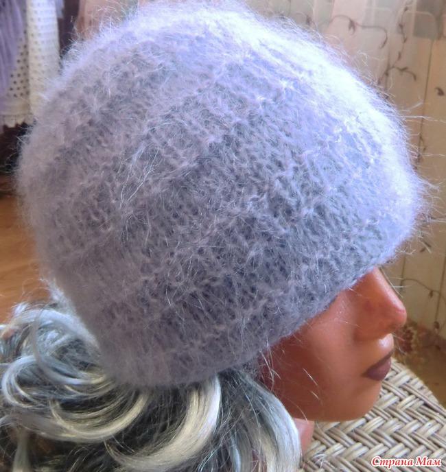 Вязание шапки из мохера с описанием