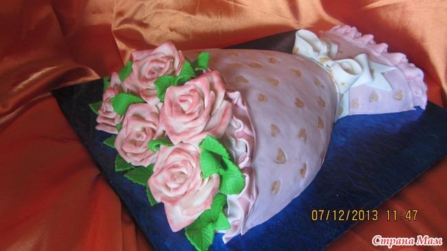 Торт букет цветов из мастики пошагово
