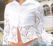 Переделка старой блузки: комбинирование ткани и вязания.