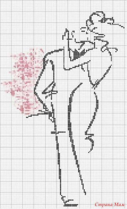 Вышивка схемы монохром люди