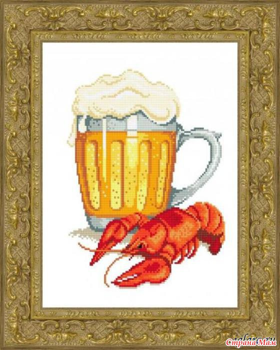 Пиво с раками схема вышивки