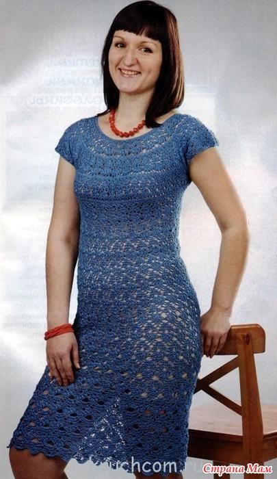 Вязание крючком платье в оборках